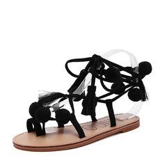 Dámské Semiš Placatý podpatek Sandály Byty Peep Toe Lodičky s otevřenou patou S Stužkové mašle Šněrovací obuv