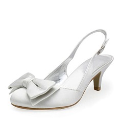 Mulheres Cetim Salto baixo Fechados Bombas Sapatos abertos com Da curva Fivela