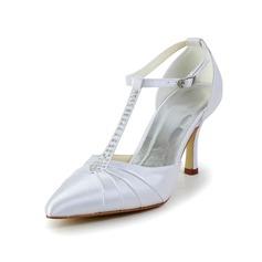 Satén S kónickým podpatkem Uzavřená špička Lodičky S Napodobenina drahokamu Nabírané Svatební obuv obuv