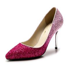Espumante Glitter Salto agulha Bombas Fechados sapatos