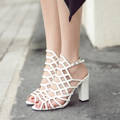 Women's Leatherette Chunky Heel Sandals Pumps Peep Toe Slingbacks With Hollow-out shoes