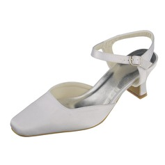 Women's Satin Spool Heel Closed Toe Pumps Slingbacks