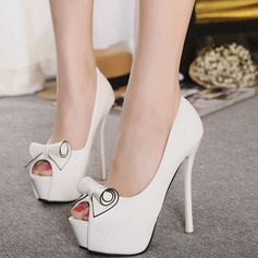 Women's Leatherette Stiletto Heel Peep Toe Platform Pumps Sandals With Bowknot