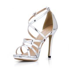 Kadın Rugan İnce Topuk Sandalet Peep Toe ayakkabı