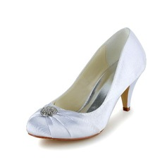 Women's Satin Cone Heel Closed Toe Pumps With Rhinestone