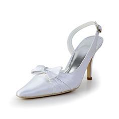 Mulher como o cetim de seda Salto cone Fechados Plataforma Sapatos abertos com Laço Fivela Imitação de Diamantes Ruched