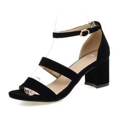 Women's Suede Chunky Heel Sandals Peep Toe shoes