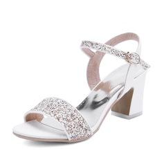 Women's Leatherette Chunky Heel Sandals Slingbacks shoes