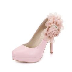 Cuero Tacón stilettos Salón Cerrados con Perlas de imitación Flor zapatos