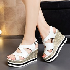Women's Patent Leather Wedge Heel Sandals Platform Wedges Peep Toe shoes