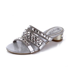 Women's Leatherette Low Heel Sandals With Rhinestone