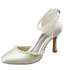 Women's Satin Stiletto Heel Closed Toe Pumps With Buckle Imitation Pearl