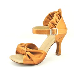 Women's Satin Heels Sandals Latin With Ruffles Ruched Dance Shoes