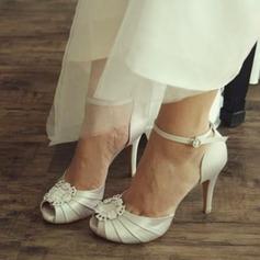 Femmes Satiné Talon stiletto À bout ouvert Sandales Beach Wedding Shoes avec Strass