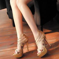 Femmes Similicuir Talon stiletto Escarpins À bout ouvert avec Paillette chaussures