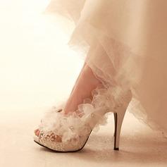 Femmes Mesh Talon stiletto À bout ouvert Plateforme Beach Wedding Shoes avec Une fleur