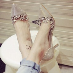 Femmes Pailletes scintillantes Talon stiletto Bout fermé Beach Wedding Shoes avec Strass