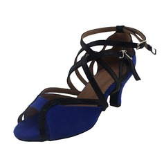 Women's Nubuck Heels Sandals Latin With Ankle Strap Dance Shoes