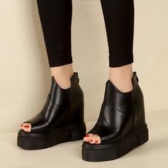 Kadın Suni deri Daireler Peep Toe Ile Fermuar Içi boş-out ayakkabı