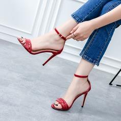 Femmes Cuir verni Talon stiletto Sandales Escarpins À bout ouvert avec Boucle chaussures