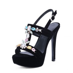Women's Suede Stiletto Heel Sandals Platform Peep Toe With Rhinestone shoes