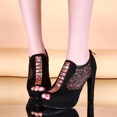 Frauen Veloursleder Mesh Stöckel Absatz Sandalen Absatzschuhe Plateauschuh Peep Toe Stiefelette mit Reißverschluss Zuschnüren Schuhe