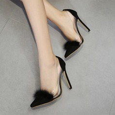 Women's Suede PVC Stiletto Heel Pumps Closed Toe With Fur shoes
