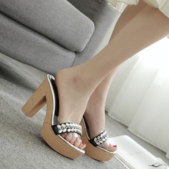Women's Chunky Heel Sandals Platform Peep Toe Slippers With Rhinestone shoes