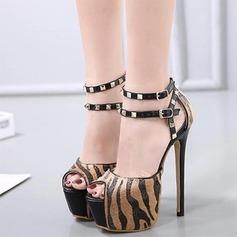 Women's Suede Stiletto Heel Sandals Pumps Platform Peep Toe With Rivet Buckle Animal Print shoes