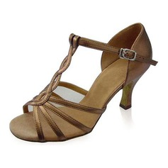 Mulheres Couro Brilhante Saltos Sandálias Latino com Correia -T Sapatos de dança