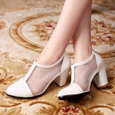 Women's Leatherette Mesh Chunky Heel Closed Toe With Zipper Split Joint shoes