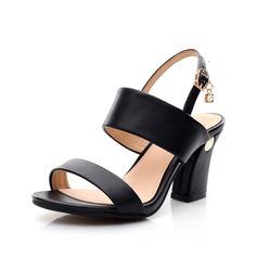 Echtleder Stämmiger Absatz Sandalen Slingpumps mit Schnalle Schuhe