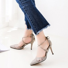 Women's Lace Stiletto Heel Sandals Pumps Closed Toe With Stitching Lace Lace-up shoes