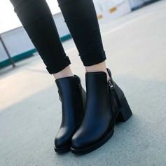 Women's PU Chunky Heel Ankle Boots shoes