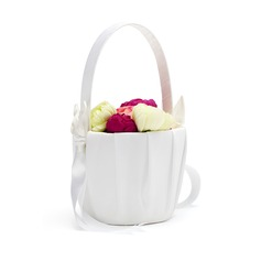 Calla Lily Flower Basket in Satin With Bow