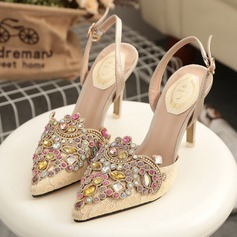 Women's Lace Stiletto Heel Pumps Slingbacks With Buckle Rhinestone