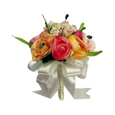 Girly Hand-tied/Round Satin Bridesmaid Bouquets