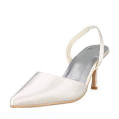 Satin plastové Stiletto Heel Uzavřená Toe Lodičky s otevřenou patou Lodičky Svatební obuv