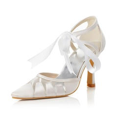 Women's Satin Closed Toe Pumps With Bowknot