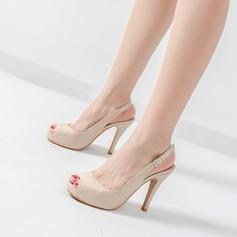 Femmes Cuir verni Talon stiletto Escarpins Plateforme À bout ouvert Escarpins chaussures