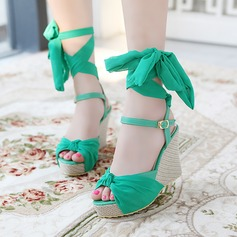 Women's Leatherette Wedge Heel Sandals Wedges Peep Toe Slingbacks With Buckle Ribbon Tie shoes