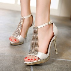 Women's Leatherette Stiletto Heel Peep Toe Sandals With Rhinestone Braided Strap