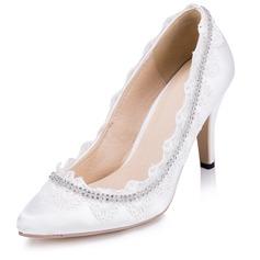 Women's Satin Stiletto Heel Closed Toe Pumps With Rhinestone Stitching Lace