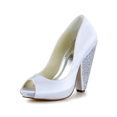 Women's Satin Cone Heel Peep Toe Pumps