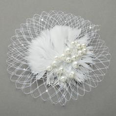 Elegant Imitation Pearls/Net Yarn/Feather Fascinators/Combs & Barrettes