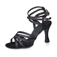 Women's Satin Heels Sandals Latin Salsa Dance Shoes
