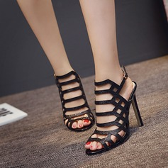 Women's Leatherette Stiletto Heel Sandals Peep Toe Slingbacks With Buckle Hollow-out shoes