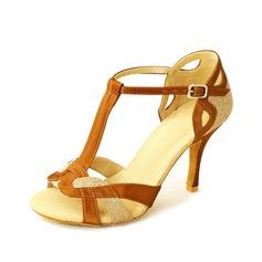 Donna Raso Glitter scintillanti Tacchi Sandalo Latino con Con Listino a T Scarpe da ballo