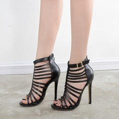 Women's Leatherette Stiletto Heel Sandals Pumps Peep Toe With Braided Strap shoes