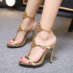 Women's Leatherette Stiletto Heel Sandals Peep Toe Slingbacks With Rivet Buckle shoes